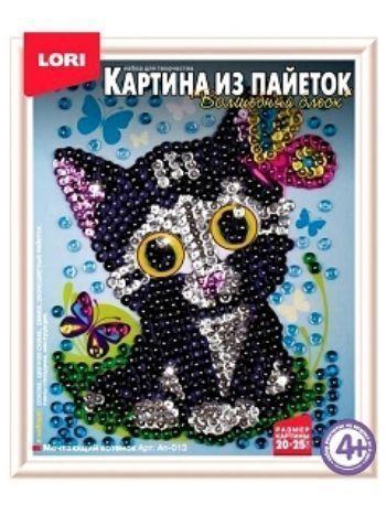 """Купить Картина из пайеток """"Мечтающий котенок"""" в Москве по недорогой цене"""