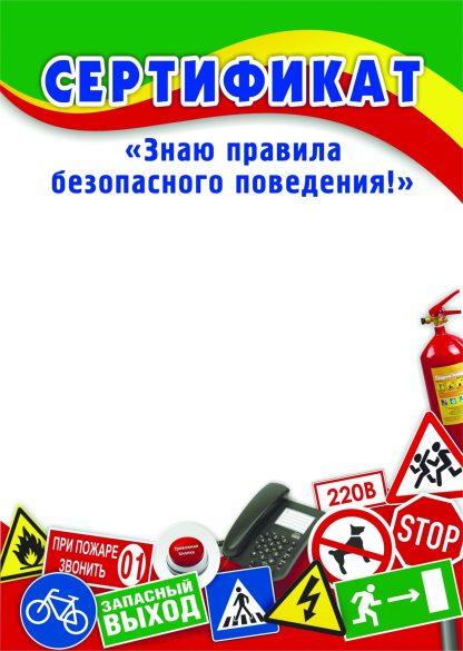 """Купить Сертификат """"Знаю правила безопасного поведения!"""" в Москве по недорогой цене"""