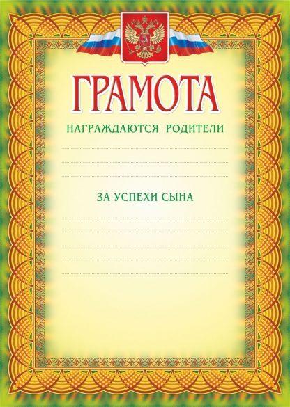 Купить Грамота (награждаются родители за успехи сына) в Москве по недорогой цене
