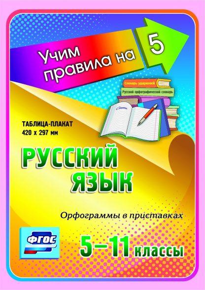 Купить Русский язык. Орфограммы в приставках. 5-11 классы: Таблица-плакат 420х297 в Москве по недорогой цене