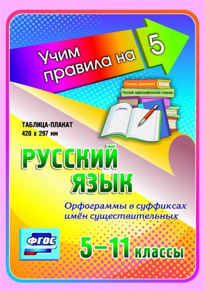 Купить Русский язык. Орфограммы в суффиксах имён существительных. 5-11 классы: Таблица-плакат 420х297 в Москве по недорогой цене