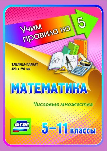 Купить Математика. Числовые множества. 5-11 классы: Таблица-плакат 420х297 в Москве по недорогой цене