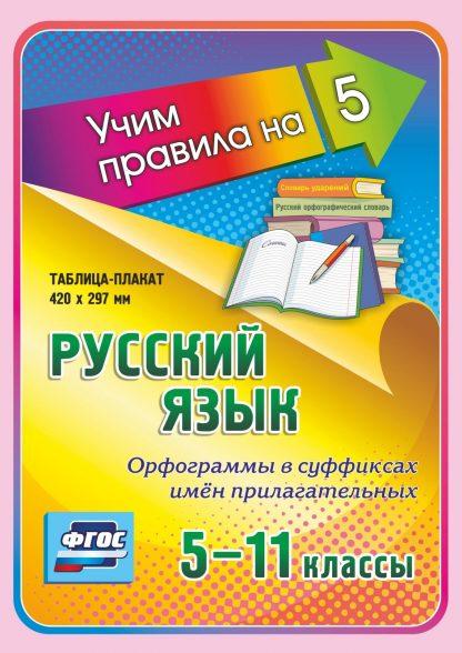 Купить Русский язык. Орфограммы в суффиксах имён прилагательных. 5-11 классы: Таблица-плакат 420х297 в Москве по недорогой цене