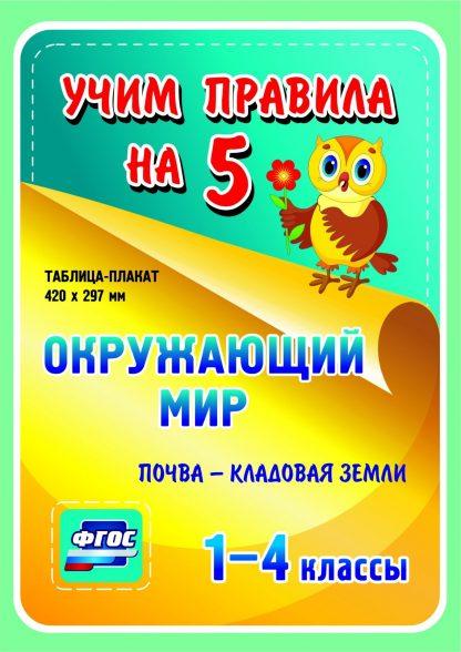 Купить Окружающий мир. Почва - кладовая земли. 1-4 классы: Таблица-плакат 420х297 в Москве по недорогой цене