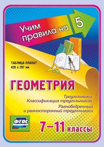 Купить Геометрия. Треугольники. Классификация треугольников. Равнобедренный и равносторонний треугольники. 7-11 классы: Таблица-плакат 420х297 в Москве по недорогой цене