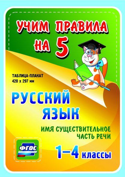 Купить Русский язык. Имя существительное. Часть речи.1-4 классы: Таблица-плакат 420х297 в Москве по недорогой цене