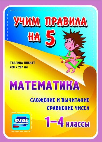 Купить Математика. Сложение и вычитание. Сравнение чисел. 1-4 классы: Таблица-плакат 420х297 в Москве по недорогой цене